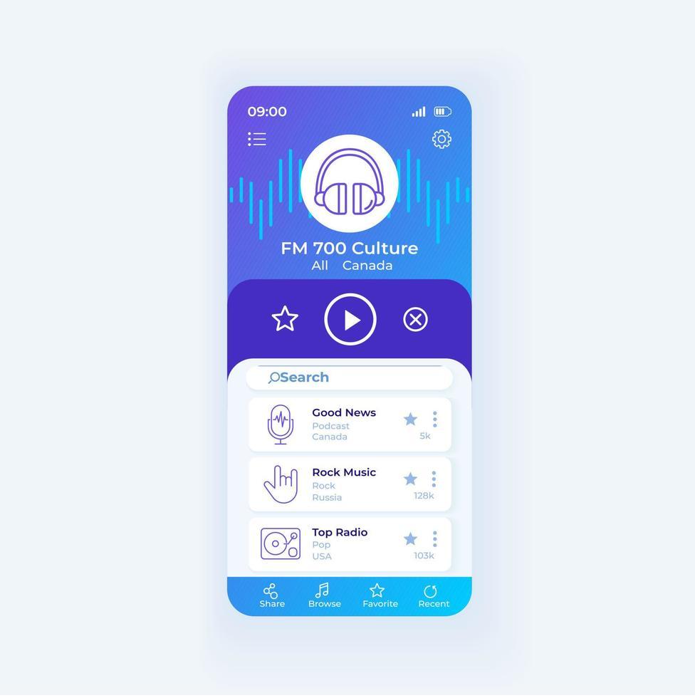 modelo de vetor de interface de aplicativo de rádio para smartphone