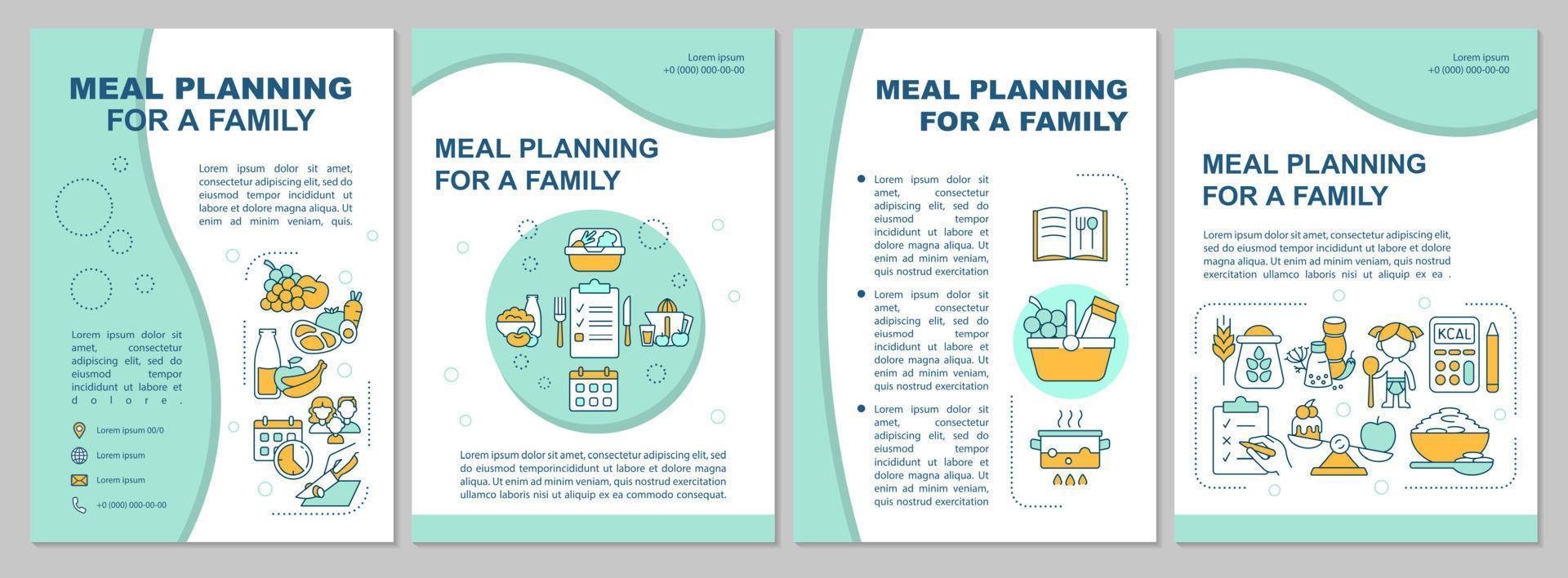 planejamento de refeição para modelo de folheto família azul vetor