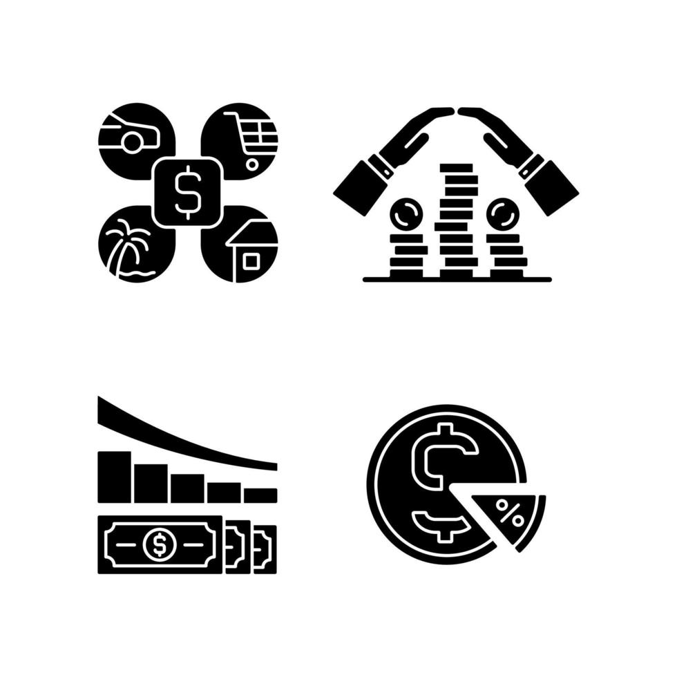 dinheiro gastando ícones de glifo preto definidos no espaço em branco vetor