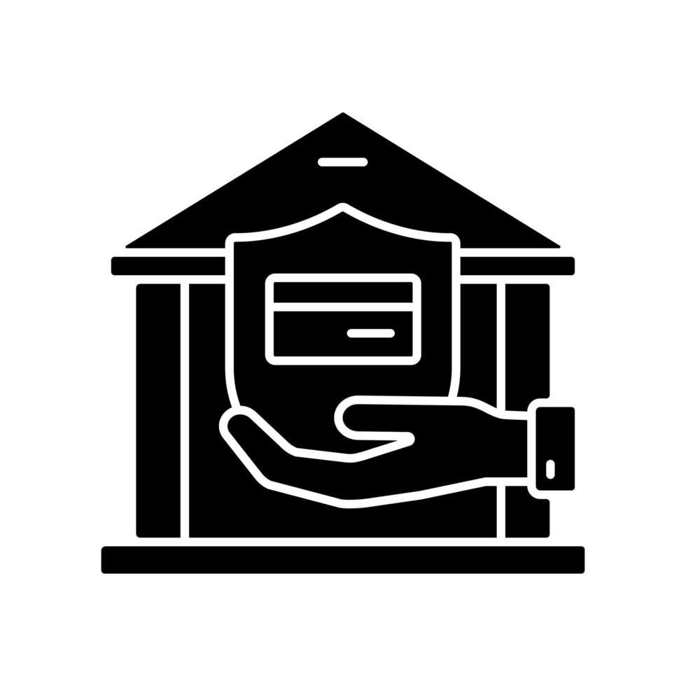 ícone de glifo preto da conta bancária vetor