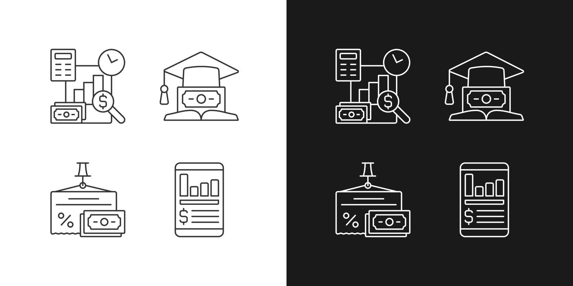 ícones lineares de investimento definidos para modo claro e escuro vetor