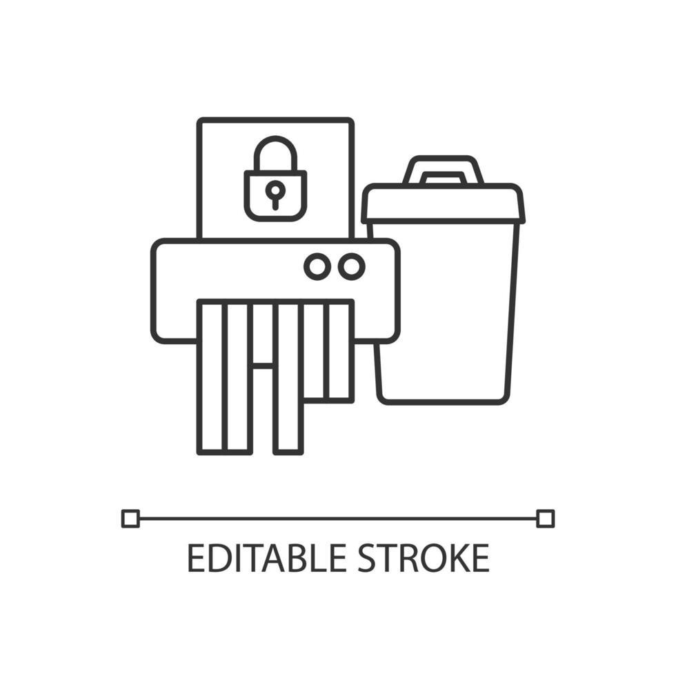 ícone linear de descarte de informações confidenciais vetor