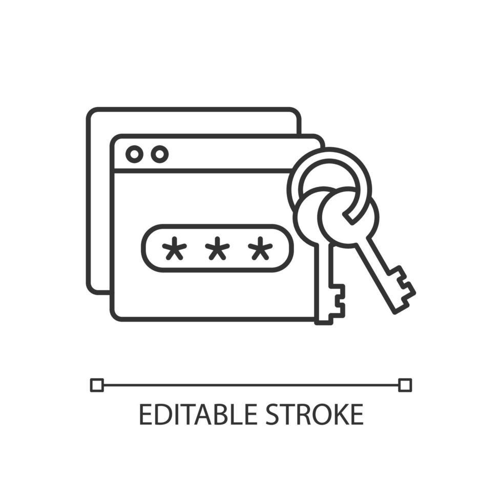 ícone linear de gerenciamento de senha vetor