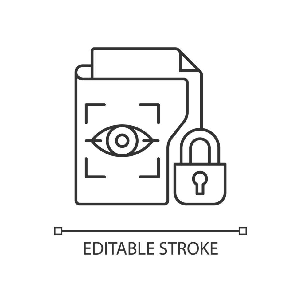 ícone linear de dados biométricos protegidos vetor