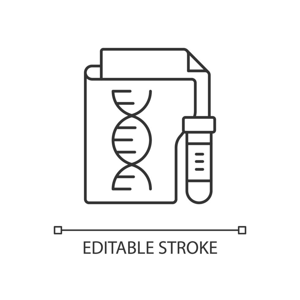 ícone linear de privacidade de informação genética vetor