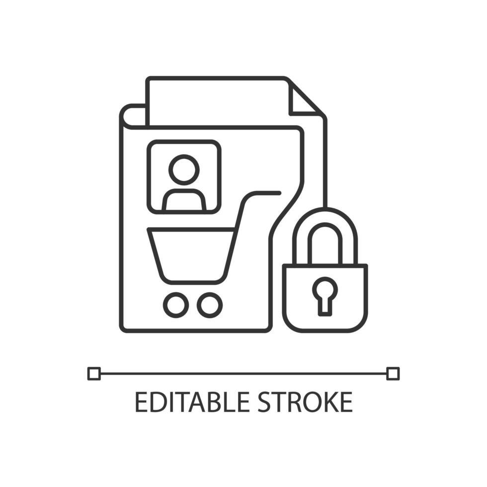 ícone linear de privacidade de dados do consumidor vetor