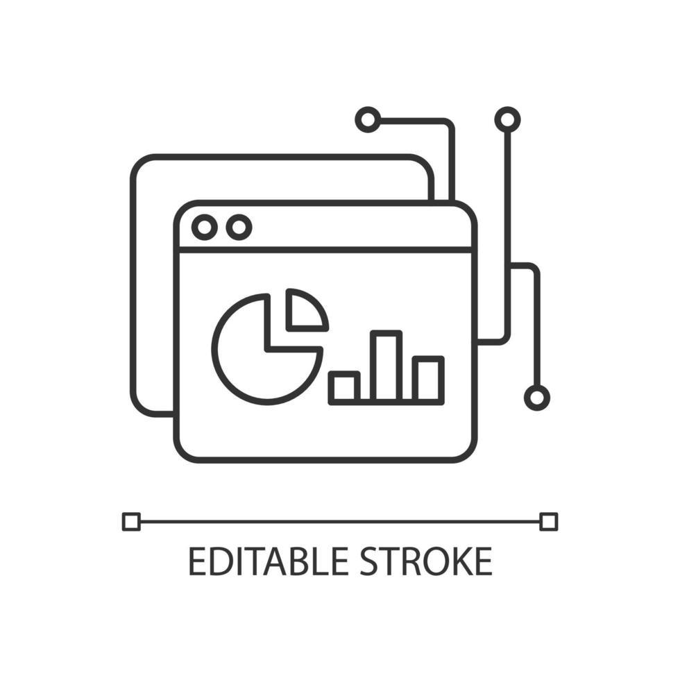 ícone linear da plataforma de inteligência de dados vetor