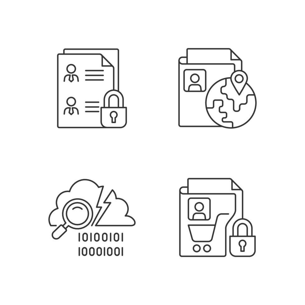 manter o conjunto de ícones lineares de segurança da informação vetor