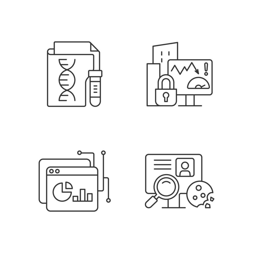 conjunto de ícones lineares de tipos de dados sensíveis vetor