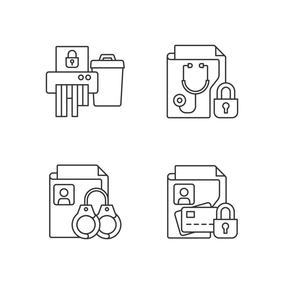 conjunto de ícones lineares de sensibilidade à informação vetor