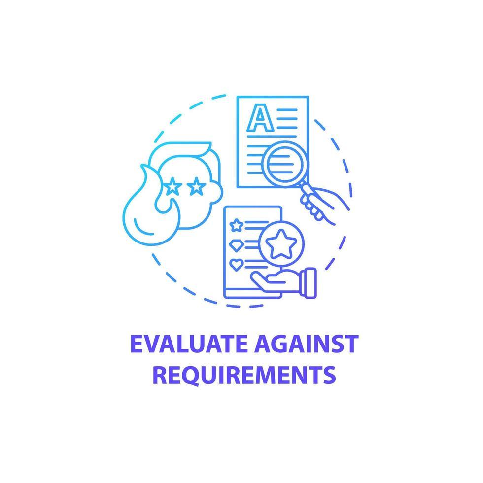 avaliar em relação ao ícone do conceito de requisitos vetor