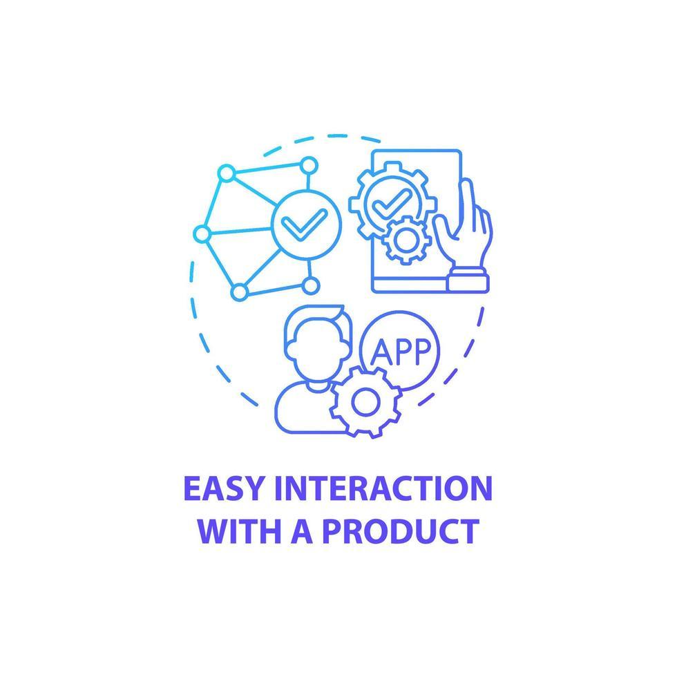 interação fácil com o ícone do conceito do produto vetor
