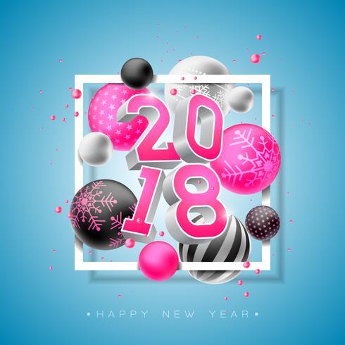 Ilustração do ano novo feliz 2018 com número 3d brilhante e bola decorativa no fundo azul. Vector Design de férias