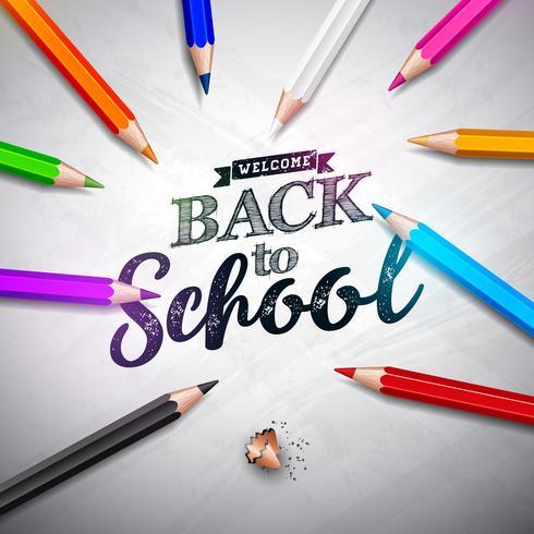 De volta ao projeto da escola com lápis e rotulação coloridos no fundo da placa branca. Ilustração vetorial para cartão, banner, panfleto, convite, folheto ou cartaz promocional. vetor