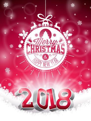 Vector o Natal e a ilustração 2018 feliz do ano novo no fundo vermelho brilhante com elemento da tipografia do feriado e número 3d. Design de Férias