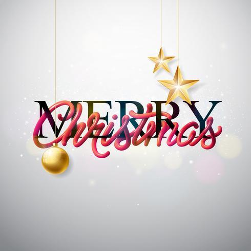 Ilustração do Feliz Natal com projeto entrelaçado da tipografia do tubo e estrela do papel do entalhe do ouro no fundo branco. Vector feriado EPS 10 design.