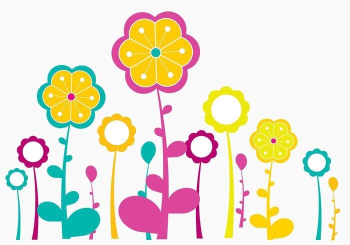 Pacote de escovas de flores altas vetor