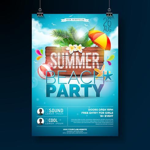 Vector verão praia festa Flyer Design com elementos tipográficos em fundo de textura de madeira. Elementos florais de natureza de verão