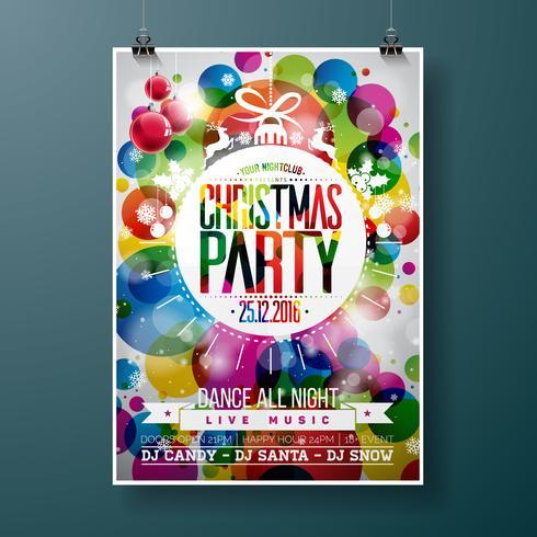 A ilustração da festa de Natal alegre com tipografia do feriado projeta na bola de vidro abstrata no fundo brilhante da cor. vetor