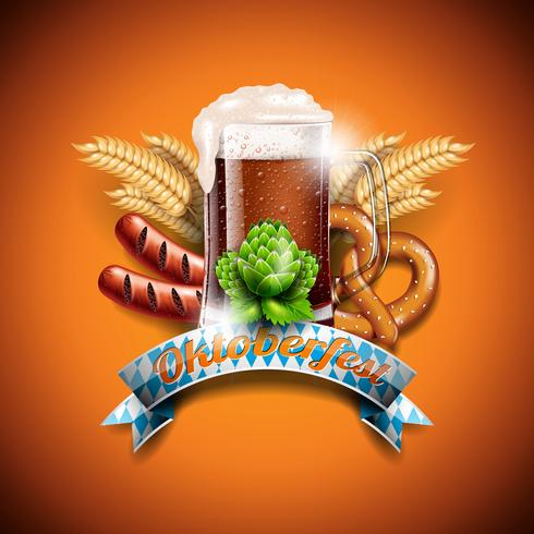 Ilustração do vetor de Oktoberfest com cerveja escura fresca no fundo alaranjado. Banner de celebração para o tradicional festival de cerveja alemã.