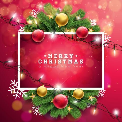 Vector a ilustração do Feliz Natal no fundo vermelho com a guirlanda leve da tipografia e do feriado, ramo do pinho, flocos de neve e bola decorativa. Feliz Ano Novo Design.