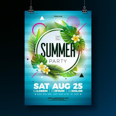 Vector verão festa Flyer Design com folhas tropicais e flor sobre fundo azul. Elementos florais da natureza verão. Modelo de design para banner, convite, cartaz do evento.