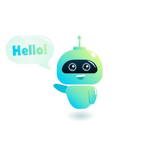 """Bot bonito dizer usuários """"Olá"""" vetor"""