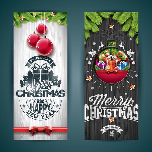 Vector feliz Natal cartão ilustração com design de tipografia