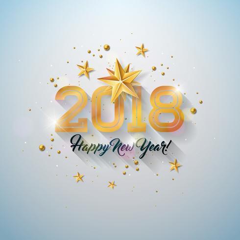 Ilustração do ano novo feliz com letra da tipografia, estrela do papel do entalhe do ouro e bola decorativa no fundo branco. Vector Design de férias