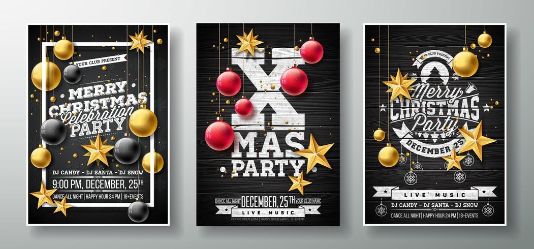 Vector a ilustração do inseto da festa de Natal alegre com a estrela do papel do entalhe do ouro, a bola de vidro e o elemento da tipografia no fundo preto da madeira do vintage. Conjunto de modelo de Poster convite de três variação.