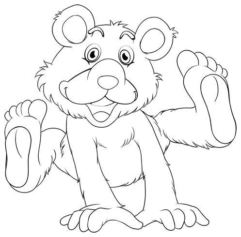 Contorno animal para urso pardo vetor