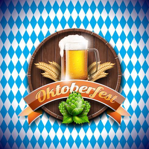 Ilustração do vetor de Oktoberfest com cerveja de lager fresca no fundo branco azul.