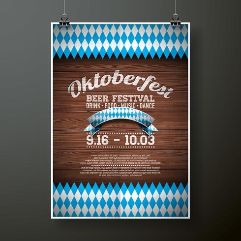 Ilustração em vetor cartaz Oktoberfest com bandeira no fundo de textura de madeira.