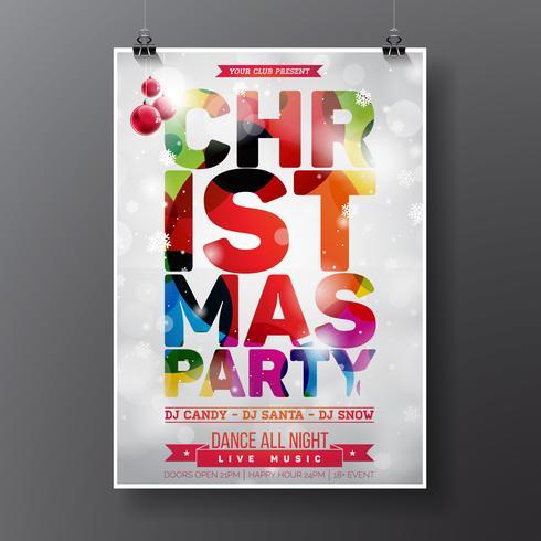 Vector Design de festa de Natal feliz com elementos de tipografia de férias e alto-falantes