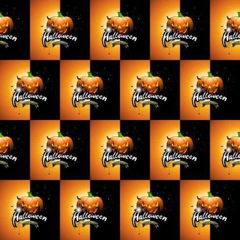 Ilustração de padrão sem emenda de Halloween com rostos assustadores de abóboras e lua vetor