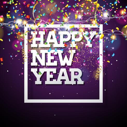 Ilustração do ano novo feliz 2018 do vetor com projeto da tipografia e festão da luz no fundo brilhante dos confetes. EPS 10