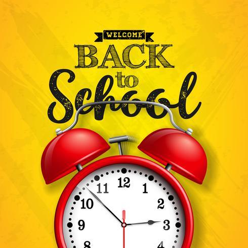 De volta ao projeto da escola com despertador vermelho e tipografia no fundo amarelo. Ilustração vetorial para cartão, banner, panfleto, convite, folheto ou cartaz promocional. vetor