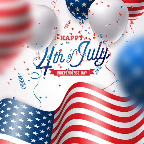 Dia da independência da ilustração vetorial de EUA. Quarto de julho Design com balão de ar e bandeira no fundo branco para Banner, cartão, convite ou cartaz de férias. vetor