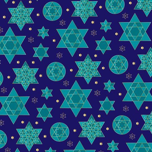 padrão de estrela judaica ornamentado azul e ouro vetor