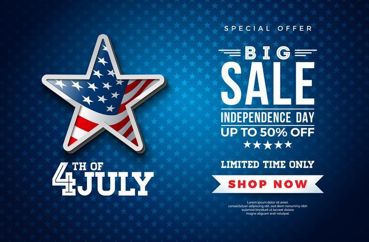 Quatro de julho. Projeto da bandeira da venda do Dia da Independência com a bandeira na estrela 3d no fundo escuro. Ilustração em vetor nacional feriado EUA com oferta especial Elementos de tipografia para cupom
