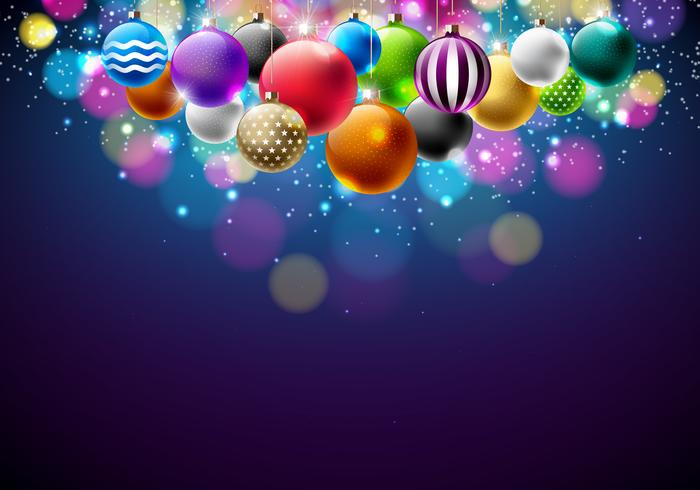 Ilustração do Feliz Natal do vetor com as bolas decorativas multicoloridos no fundo azul brilhante. Feliz ano novo Design para cartão, cartaz, Banner.