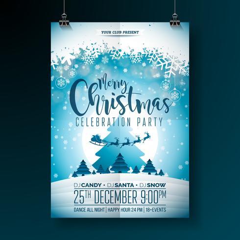 Projeto da festa de Natal feliz do vetor com elementos da tipografia do feriado e bolas decorativas multicoloridos no fundo brilhante. Ilustração de Fliyer de celebração. EPS 10