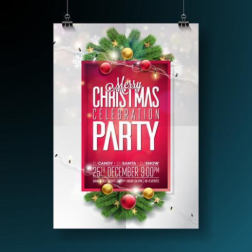 Projeto da festa de Natal feliz do vetor com elementos da tipografia do feriado e bola decorativa, ramo do pinho, iluminação Girland no fundo vermelho. Ilustração de Flyer de celebração. EPS 10