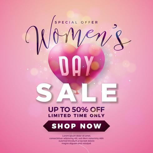 Womens Day Sale Design com balão de ar coração no fundo rosa vetor
