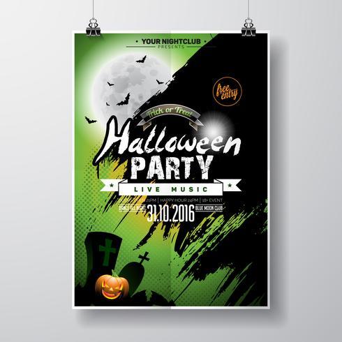Vector Halloween Party Flyer Design com elementos tipográficos e abóbora no fundo verde.