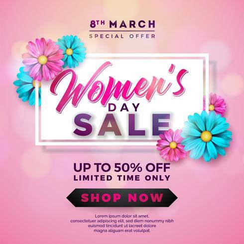 Design de venda do dia das mulheres com bela flor colorida no fundo rosa vetor