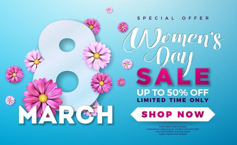 Design de venda do dia das mulheres com bela flor colorida sobre fundo azul vetor