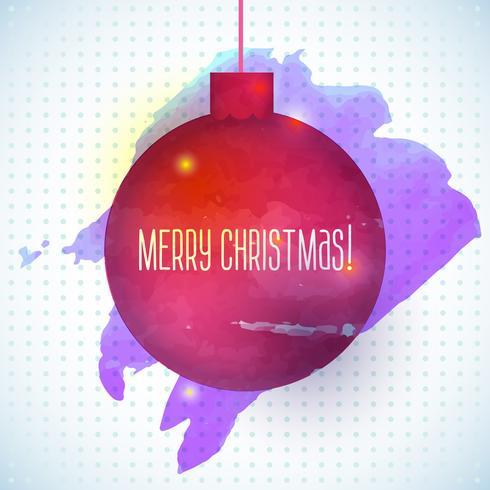 Fundo vermelho aquarela abstrata de bola de Natal vetor