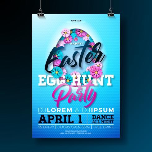 Vector Easter Egg caça festa Flyer ilustração com flores em cortar a silhueta de ovo