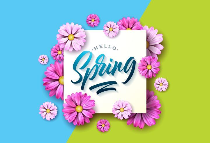 Olá Primavera natureza ilustração com linda flor colorida sobre fundo verde e azul vetor